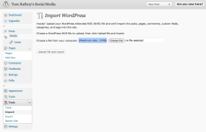 WordPress 15mb Import limit