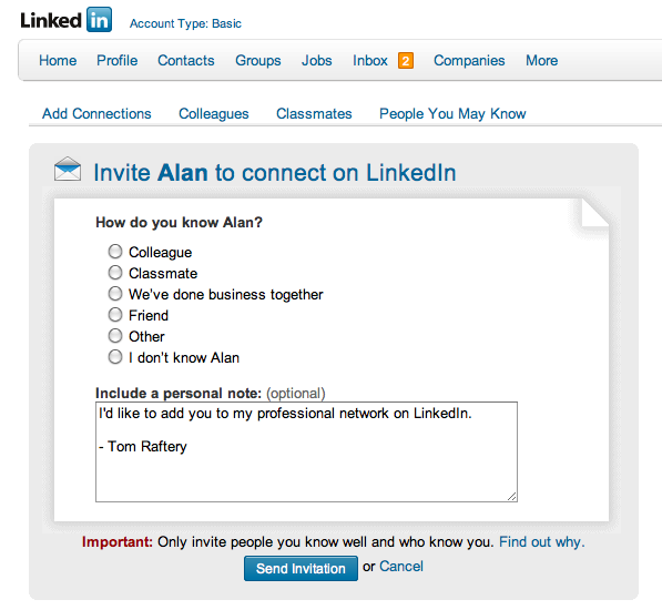 Official LinkedIn connection request