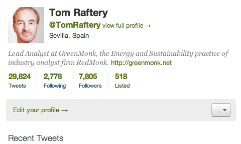 Tom Raftery Twitter profile Feb 14 2011