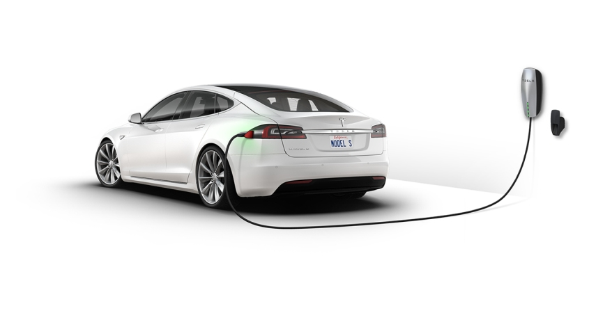 A Tesla Model S electric vehicle charging